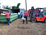 Forklifter operation to move the tanks from the container to the slab