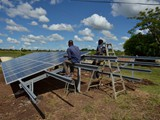 Mounting the solar panels on the tray
